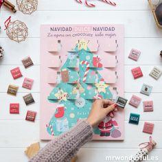 """Calendario de Adviento """"La espera con chocolate sabe mejor"""" #mrwonderfulshop #advent #calendar #chocolate #christmas"""