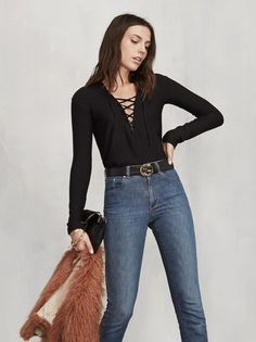 Sorry we can't stop making cute lace-ups for you. The Dwight Top is a bit more casual so you can relax and be comfortable, but still show a little neckline. https://www.thereformation.com/products/dwight-top-holmes?utm_source=pinterest&utm_medium=organic&utm_campaign=PinterestOwnedPins