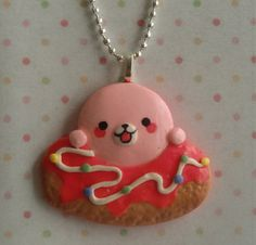 Cute Chubby Mamegoma Pink Donut Pendant & by DecodenAccessories, $10.00