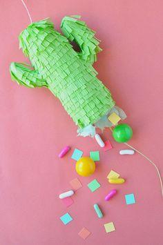 Mini Cactus Piñatas via @Jordan Ferney | Oh Happy Day! | Cinqo De Mayo Party Ideas | DIY Pinata