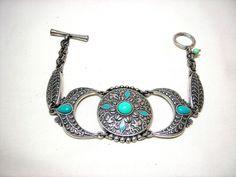 Lucky Brand Silver Tone Bracelet Turquoise Bead  #LuckyBrand #c