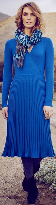 Comfortable fall and winter trends - like this casual blue sweater dress - read about wearable daytime outfits you can actually afford.