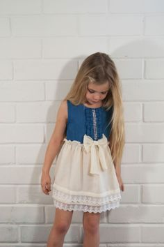 Denim Chiffon Lace Tiered Bow Dress