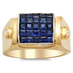 Artistry Collections 18k Yellow Gold 1/6ct TDW Diamond Sapphire Ring (F-G, SI1-SI2) (Yellow gold Size 7.5), Women's, Blue