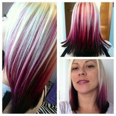Blonde, burgundy, and black hair