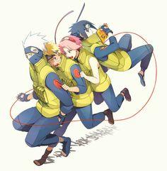 Naruto: Kakashi-sensei, Naruto, Sakura, and Sasuke Anime Naruto, Naruto And Sasuke, Naruto Team 7, Kakashi Sensei, Naruto Cute, Naruto Funny, Gaara, Manga Anime, Anime Boys
