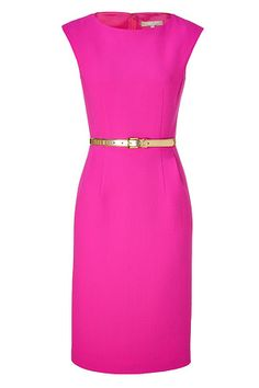 Michael Kors Neon Pink Belted Sheath Dress --> different color! Pretty Dresses, Beautiful Dresses, Dresses For Work, Gorgeous Dress, Formal Dresses, Michael Kors, Looks Style, Style Me, Luxury Fashion