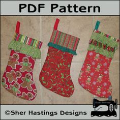 Ruffled Cuff Christmas Stockings - Set of Three | YouCanMakeThis.com | Stockings | DIY | Sewing Pattern