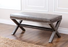 Arc Leather Entryway Bench