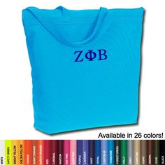 Zeta Phi Beta Sorority Zippered Tote Bag $19.95