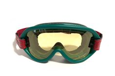 """ETHEN """"Scrambler"""" retro goggles with green frame, red & green strap and lightly orange tinted lens. Retro motorcycle accessories at Motorcycle Goggles, Retro Motorcycle, Small Motorcycles, Alpine Skiing, Café Racers, Light Orange, Motorcycle Accessories, Scrambler, Red Green"""