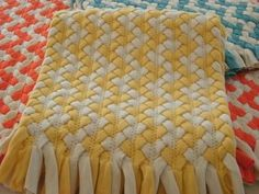 Yellow Chevron braided rug. I want to make one for my bathroom!