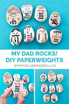 My Dad Rocks #kidscraft. Make dad a personalized paperweight rock for a fun Father's Day craft and useful gift! #fathersday #fathersdaycrafts #rockcraft #rockart