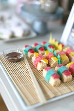 Candy sushi from a Japanese Sushi Chef Birthday Party at Kara's Party Ideas. See it all at karaspartyideas.com!