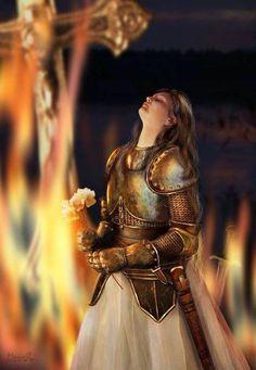 Jeanne d'Arc by mariall on DeviantArt Joan D Arc, Saint Joan Of Arc, St Joan, Catholic Saints, Patron Saints, Fantasy Witch, Jeanne D'arc, Dragon Artwork, Female Knight