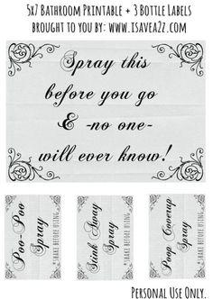 Poo Poo Spray Printable Labels