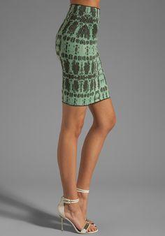 BCBGMAXAZRIA:  Printed Skirt  Reg: $198.00     Color: Kelly Green Combo  Shades of Green