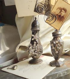 Tutorial for re-purposed antique salt and pepper shakers and jewelry as photo holders from Sacred Cake by Jennifer Valentine