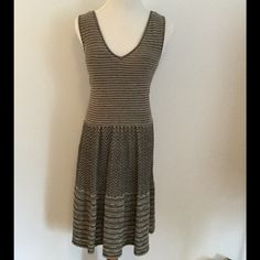 """Anthropologie Sweater Dress Black and White Anthropologie Test Pattern Sweater Dress. Layered and lined with layers of lines this silver flecked dress is an achromatic success. By knitted & knotted. Cotton/ cotton lining. 38.5"""" L. Pullover styling. Anthropologie Dresses Midi"""