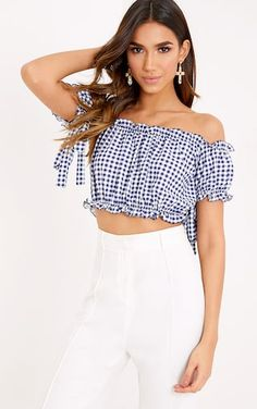 Blue Gingham Ruffle Bardot Crop Top Jump in the new trend with this ultra cute crop top. Crop Top Outfits, Casual Summer Outfits, Girls Fashion Clothes, Teen Fashion Outfits, High End Clothing Brands, Bardot Crop Top, Frill Tops, Cute Crop Tops, Blue Gingham