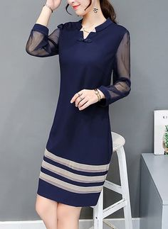 Solid Shirt Collar Long Sleeve A-line Dress