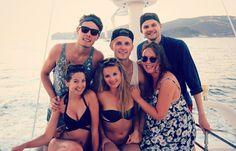 Me, Alfie, Marcus, Niomi, Tanya & Jim on a yacht in Santorini