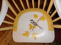 Chickadee chair unique chair hand painted chair by GroovyRejuvy