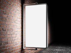 Illuminated and wall-mounted outdoor Billboard Mockup