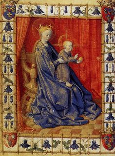 Jean Fouquet:  Virgin And Child Enthroned  (ca. 1455, miniature from the Book of Hours of Simon de Varye)
