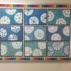Second grade echo lines with cool colors and handmade snowflakes! Thanks @duganartists !!!