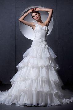 White Organza One-shoulder Sweetheart Wedding Dresses - Order Link: http://www.theweddingdresses.com/white-organza-one-shoulder-sweetheart-wedding-dresses-twdn2859.html - Embellishments: Layered,Ruffles,Flower; Length: Chapel Train; Fabric: Organza; Waist: Dropped - Price: 209.59USD