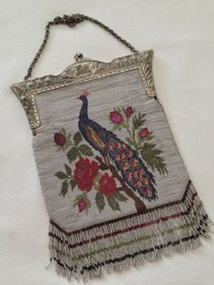 VTG-BEAUTIFUL-LARGE-MICRO-STEEL-BEADED-KNITTED-BAG-with-Peacock-Motif-10-x-7