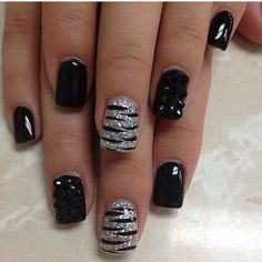 black and silver nails - Google Search