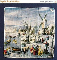 Vintage Kreier Art Handkerchief UNUSED PRISTINE Mid Century | Etsy Couple Holding Hands, Cushion Cover Designs, Vintage Handkerchiefs, Cushion Inserts, Hand Roll, Logo Sticker, Rolled Hem, Vintage Textiles, Winter Scenes