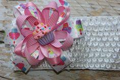 Birthday Hair Bow Cupcake Pink Loop Ribbon by SweetCrusaderStyle, $9.00