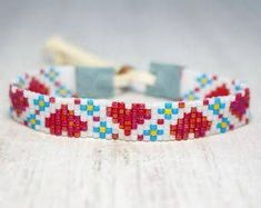 Seed Bead Bracelet Beaded Jewelry Womens by SKBeadedJewelry Loom Bracelet Patterns, Bead Loom Bracelets, Bead Loom Patterns, Beaded Jewelry Patterns, Beading Patterns, Beading Ideas, Beading Supplies, Bracelet Crochet, Bead Loom Designs