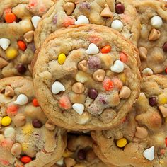 White Chocolate Reese's Pieces Peanut Butter Chocolate Chip Cookies
