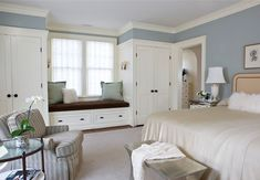 Krista always wanted a window seat. Sorry sweet girl! closets added to either side of the window plus a window seat - Palisades, NW DC - Anne Decker Architects Bedroom Built Ins, Master Bedroom Closet, Bedroom Wardrobe, Closet Wall, Closet Office, Closet Space, Closet Doors, Wall Of Closets, Front Closet