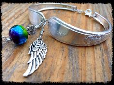 Antique Silver Spoon Bracelet With Artistic by NakedDogStudio, $39.00