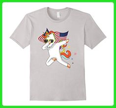 Mens Flying Unicorn Dabbing American Flag Independence T-Shirt Small Silver - Fantasy sci fi shirts (*Amazon Partner-Link)