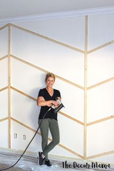 You Need to Know to Make A Herringbone Accent Wall! Everything You Need to Know to Make A Herringbone Accent Wall! - The Decor MamaEverything You Need to Know to Make A Herringbone Accent Wall! - The Decor Mama Cute Dorm Rooms, Cool Rooms, Herringbone Wall, Farmhouse Side Table, Living Room Designs, Home Improvement, Room Decor, Wall Decor, Stylish