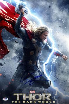 Chris Hemsworth Signed 12x18 Thor The Dark World Without Credits Movie Poster Photo (PSA/DNA)