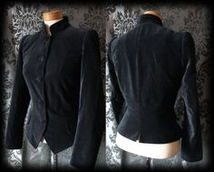 Gothic Black Velvet Fitted ROOKERY Military Riding Jacket 10 12 Victorian