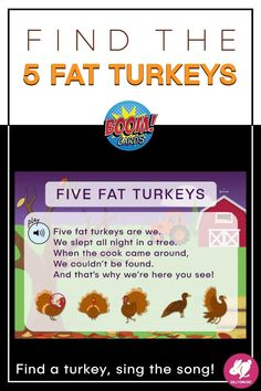 Find the Five Fat Turkeys is a great Thanksgiving music activity for November! You can project it on the screen for the whole class and students can take turns looking for the turkeys, or you can assign it to students to practice singing 5 Fat Turkeys at home. Once a student finds a turkey by moving the flashlight around, they can click on the sound file and sing along with the song. Great from Kindergarten, 1st-grade, and 2nd-grade music classes. Perfect for distance learning! Music Teachers, Music Classroom, Teaching Music, Fun Music, Music Games, Music Mix, Music Lesson Plans, Music Lessons, Turkey Songs