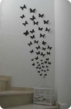 (buena idea para nuestra caja del suelo) Mi Pared Favorita: Mariposas de papel de Gemma - Paperblog