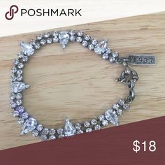 """Madewell Rhinestone Bracelet Delicate and gorgeous! Rhinestones in a gunmetal setting - all stones intact. Measures approx. 7.75"""" long and .5"""" wide at widest point (pear-shaped stones). Madewell Jewelry Bracelets"""