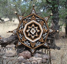 Honey Wheel 12 Ojo de Dios Yarn Mandala by HighDesertBohemian, $32.00