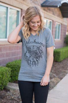 Oklahoma shield unisex v-neck t-shirt grey from Lush Fashion Lounge