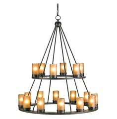 large rustic chandelier candle chain | Black Wrought Iron Tiered Large 18 light Candle Chandelier