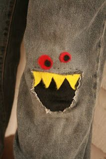 DIY monster jeans patch...I've got the holes... This is the monster Toby picked